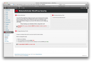WebsiteDefender WSD Security WordPress Plugin Database Tool