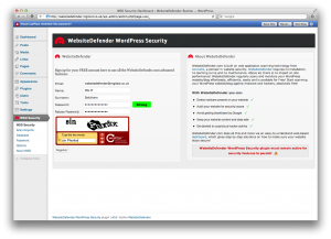 WebsiteDefender WordPress Security Plugin Registration Page